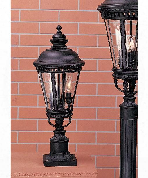 Castle 3 Light Outdoor Outdoor Post Lamp In Black
