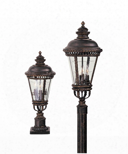 "Castle 9"" 3 Light Outdoor Outdoor Post Lamp In Grecian Bronze"