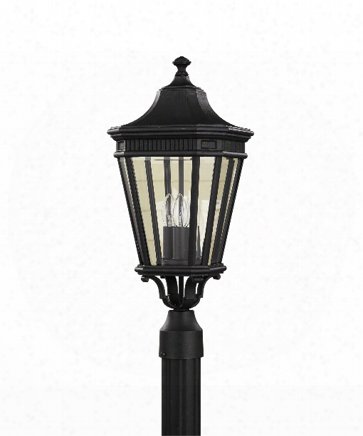 "Cotswold Lane 10"" 3 Light Outdoor Outdoor Post Lamp In Black"