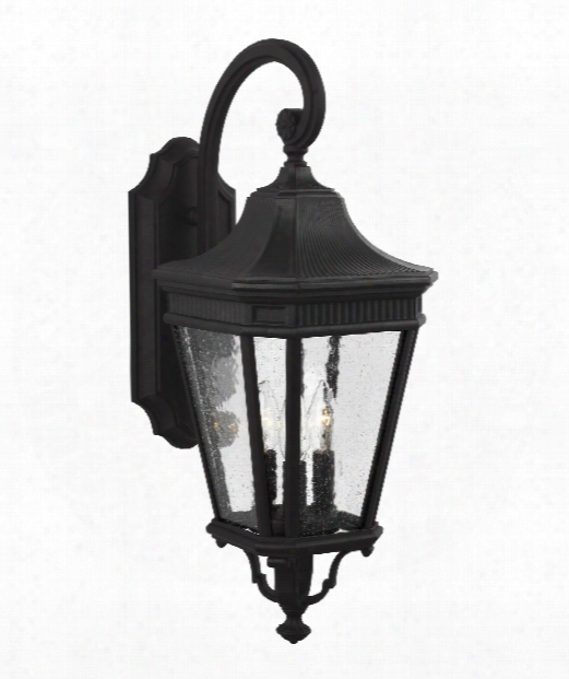 """Cotswold Lane 10"""" 3 Light Outdoor Outdoor Wall Light In Black"""