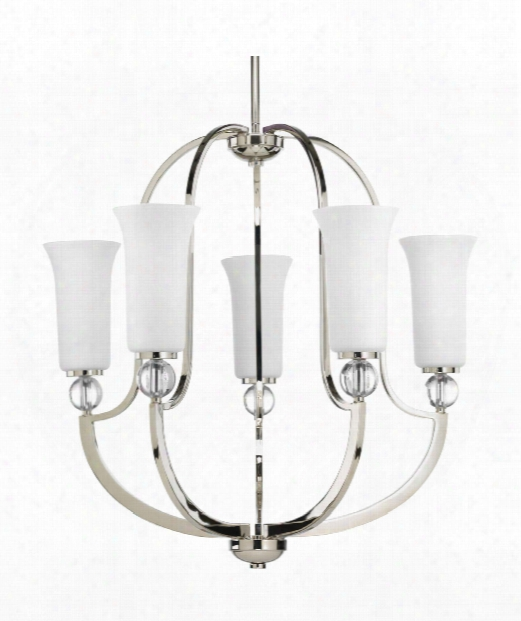 "Elina 24"" 5 Light Chandelier In Polished Nickel"
