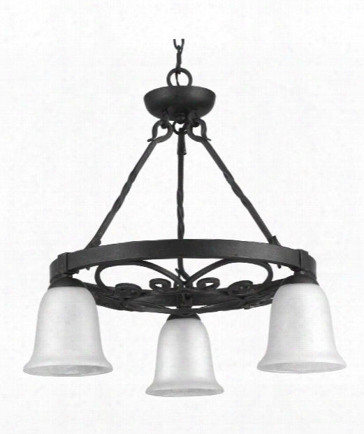 """Enclave 24"""" 3 Light Chandelier In Gilded Iron"""