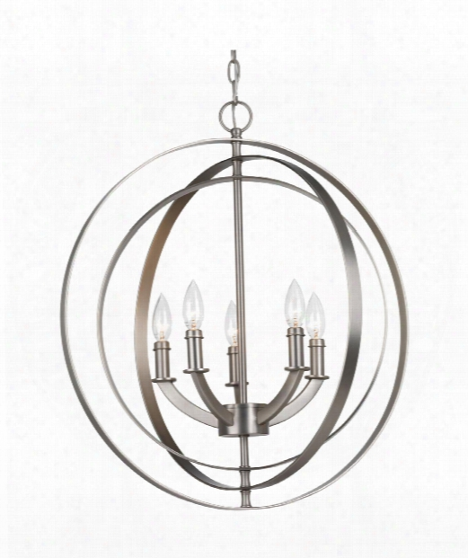 "Equinox 22"" 5 Light Large Pendant In Burnished Silver"