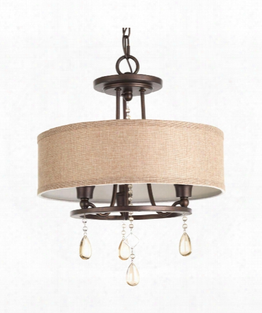 "Flourish 15"" 3 Light Flush Mount In Cognac"