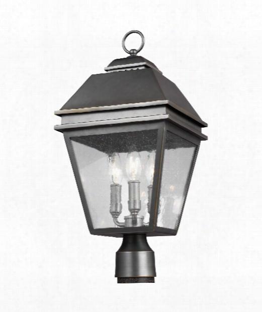 """Herald 10"""" 3 Light Outdoor Outdoor Post Lamp In Antique Bronze"""