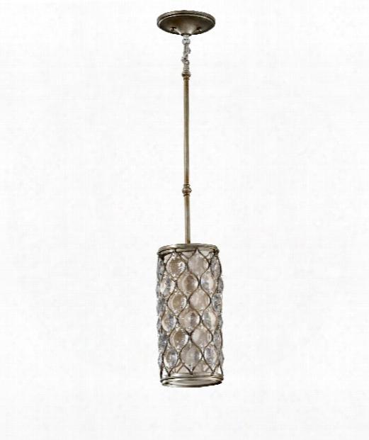 """Lucia 7"""" 1 Light Mini Pendant In Burnished Silver"""