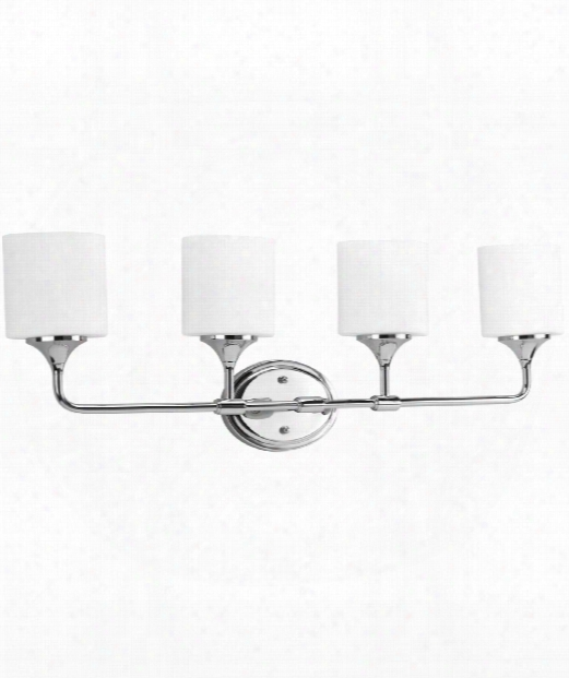 "Lynzie 33"" 4 Light Bath Vanity Light In Polished Chrome"