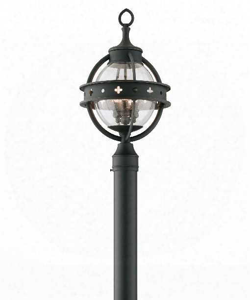 """Mendocino 12"""" 3 Light Outdoor Outdoor Post Lamp In Forged Black"""