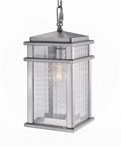 "Monterrey Coast 7"" 1 Light Outdoor Hanging Lantern In Brushed Aluminum"