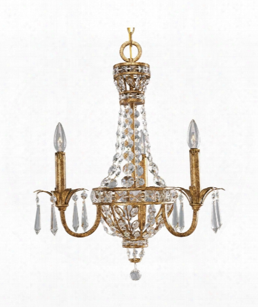 "Palais 22"" 3 Light Chandelier In Imperial Gold"