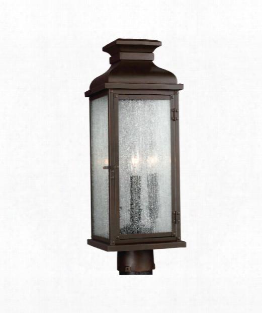 "Pediment 7"" 2 Light Outdoor Outdoor Post Lamp In Dark Aged Copper"