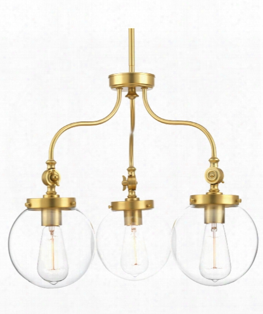 "Penn 22"" 3 Light Chandelier In Natural Brass"