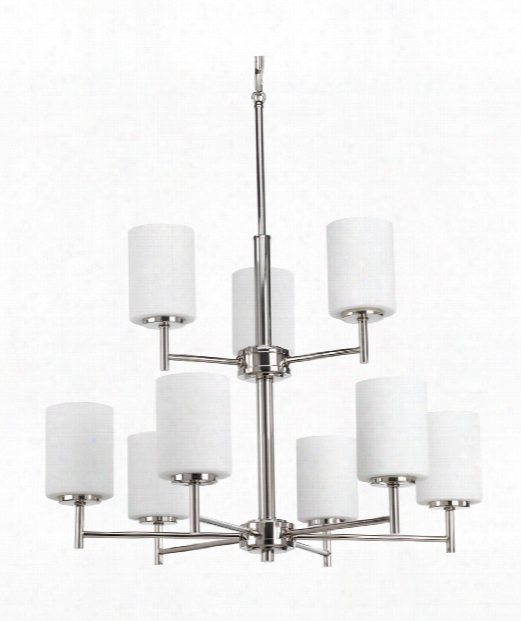 "Replay 26"" 9 Light Chandelier In Polished Nickel"