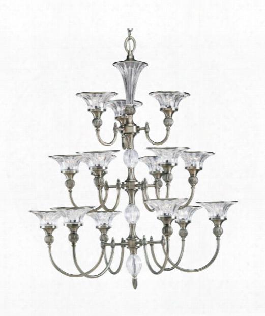"""Roxbury 36"""" 15 Light Chandelier In Classic Silver"""
