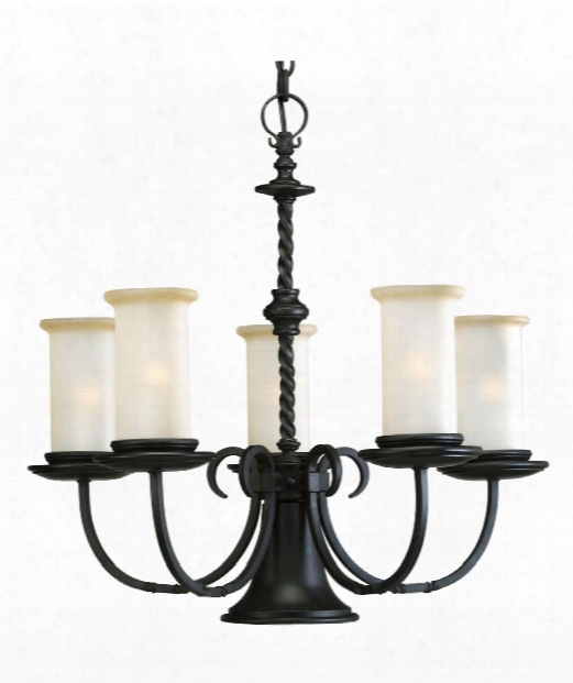 "Santiago 24"" 5 Light Chandelier In Forged Black"