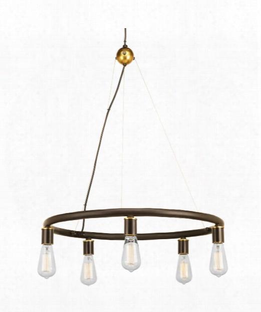 """Swing 25"""" 5 Light Chandelier In Antique Bronze"""