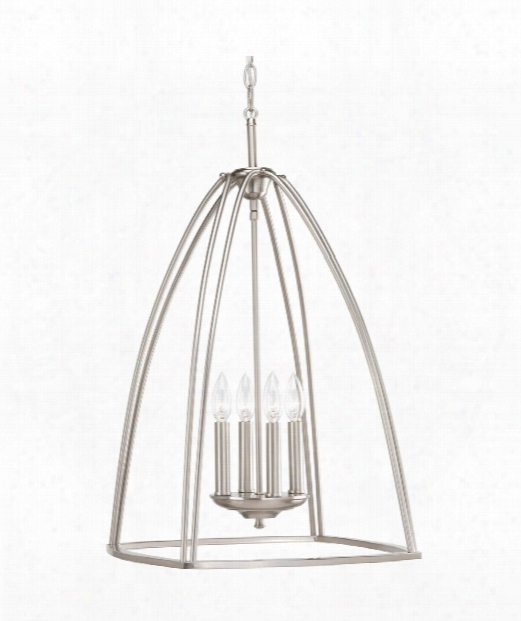 "Tally 17"" 4 Light Large Pendant In Brushed Nickel"