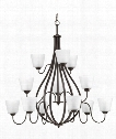 "Arden 42"" 12 Light Chandelier in Antique Bronze"