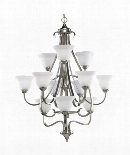 "Torino 34"" 12 Light Chandelier In Brushed Nickel"
