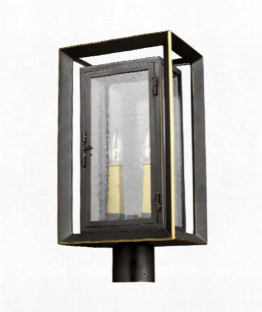 "Urbandale 10"" 2 Light Outdoor Outdoor Post Lamp In Antique Bronze - Painted Burnished Brass"