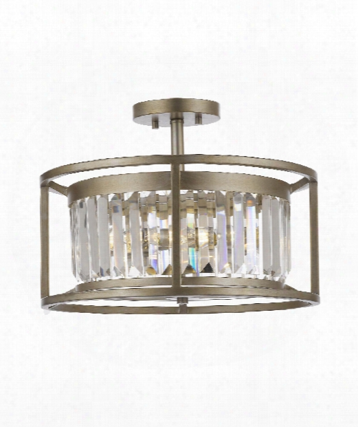 "Valeria 16"" 3 Light Semi Flush Mount In Antique Silver"