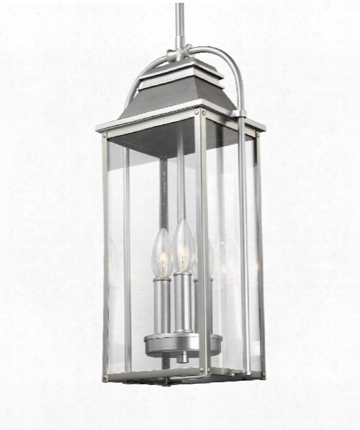 "Wellsworth 9"" 3 Light Outdoor Hanging Lantern In Painted Brushed Steel"