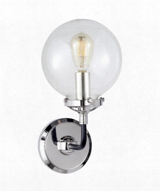 """Bistro 6"""" 1 Light Wall Sconce In Polished Nickel And Black"""