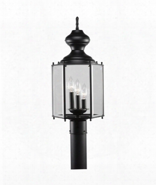 "Brass Guard 10"" 3 Light Outdoor Outdoor Post Lamp In Black"