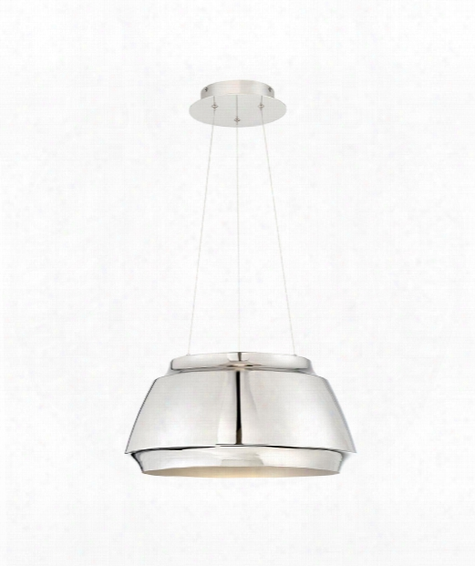 "Chromium 18"" Led 1 Light Large Pendant In Polished Nickel"
