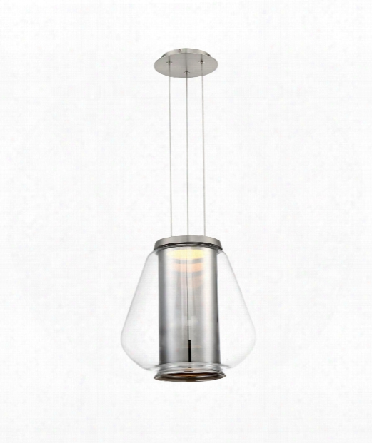 "Dynamo 13"" Led 1 Light Large Pendant In Chrom"