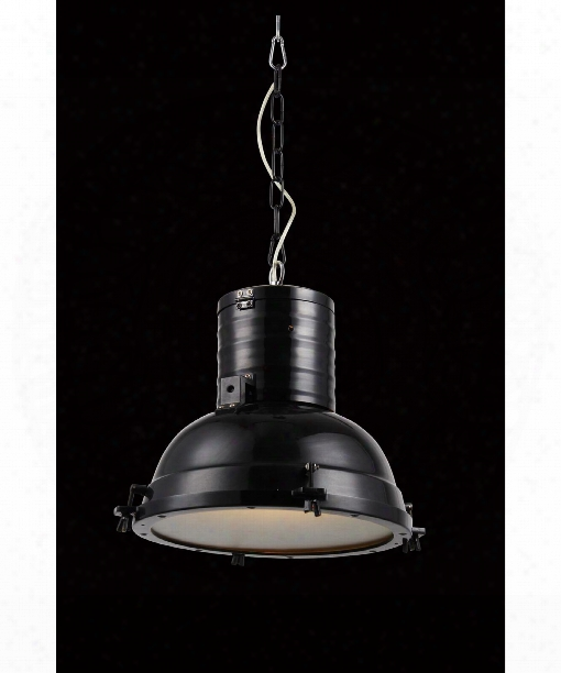 "Industrial 16"" 1 Light Large Pendant In Black"