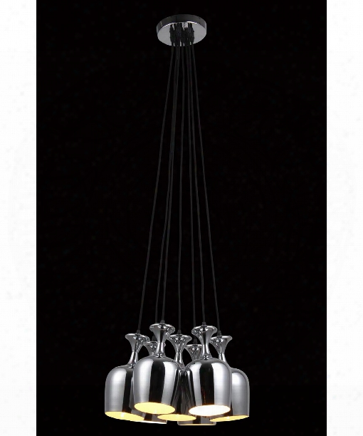 "Industrial 16"" 7 Light Large Pendant In Chrome"