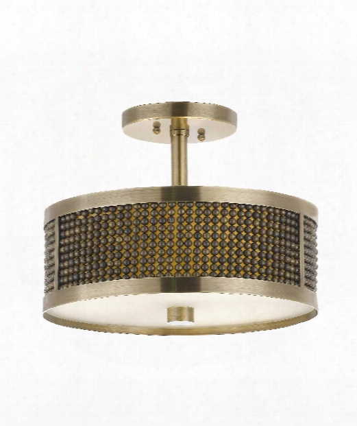 "Lucente 14"" 3 Light Semi Flush Mount In Plated Antique Brass"