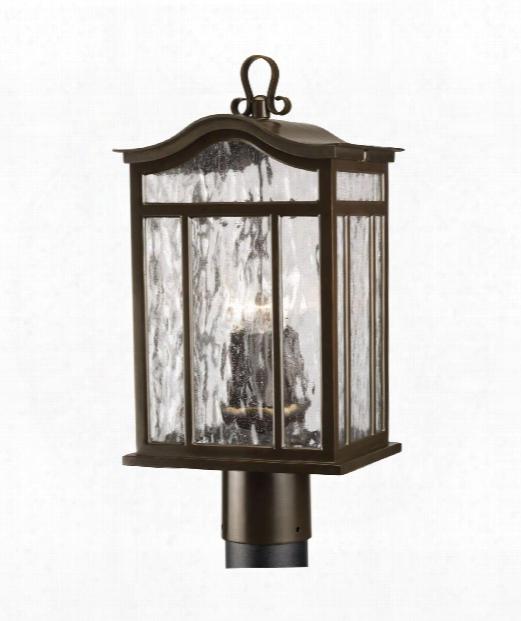 """Meadowlark 9"""" 3 Light Outdoor Outdoor Post Lamp In Oil Rubbed Bronze"""