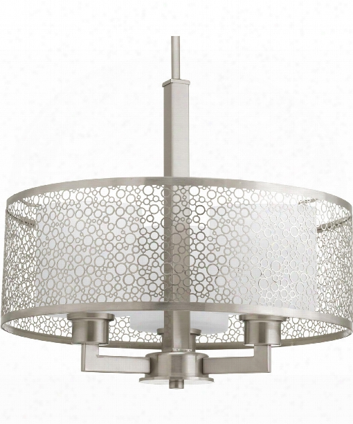 "Mingle 17"" 3 Light Large Pendant In Brushed Nickel"