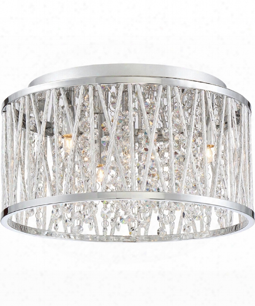 "Platinum Crystal Cove 14"" Led 4 Light Flush Mount In Polished Chrome"