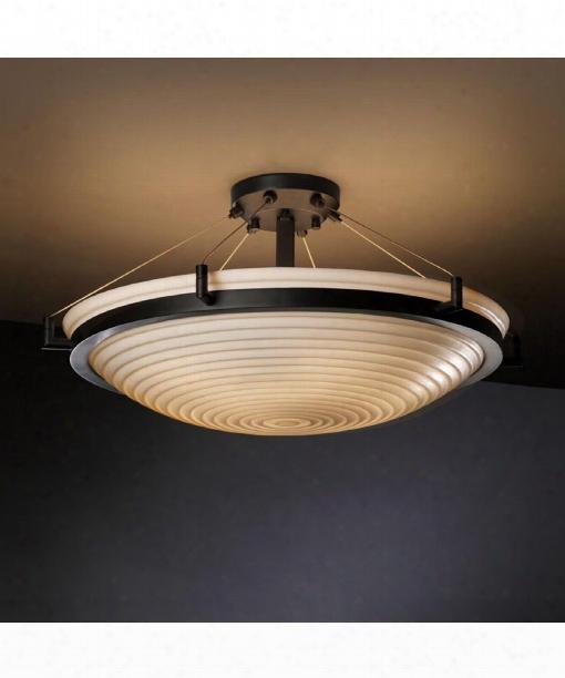 "Porcelina 27"" 6 Light Semi Flush Mount In Matte Black"