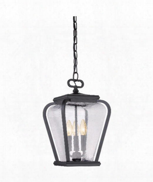"Province 10"" 3 Light Outdoor Outdoor Hanging Lantern In Mystic Black"