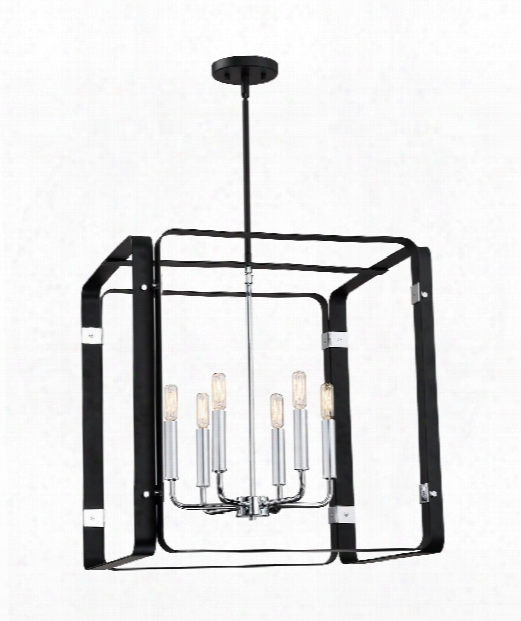 "Reveal 22"" 6 Light Large Pendant In Earth Black"