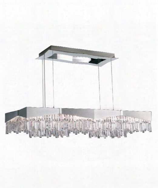 "Riviera 50"" 16 Light Island Light In Brushed Stainless Steel"