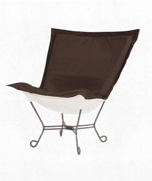"""Scroll Puff 40"""" Occasional Chair In Chocolate Brown"""