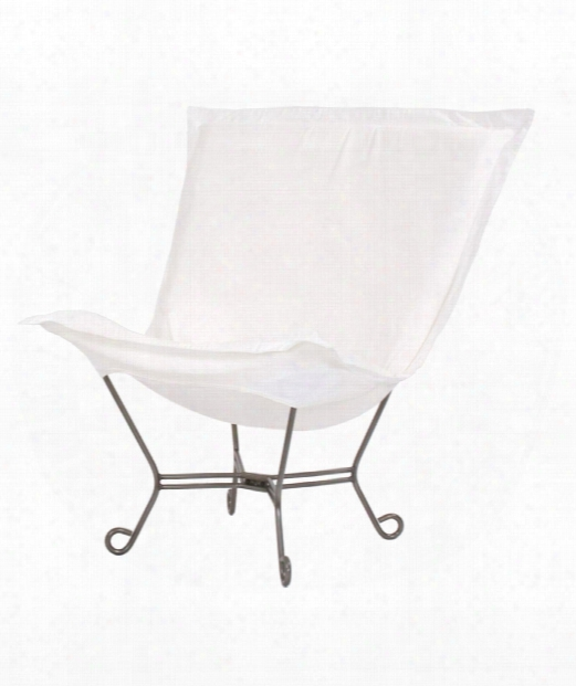 "Scroll Puff 40"" Occasional Chair In White"