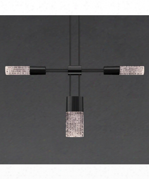 "Suspenders 36"" Led 4 Light Multi Pendant Light In Satin Black"