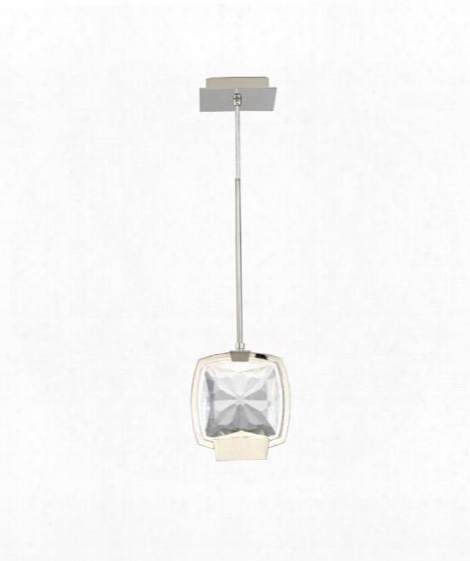 """Tiffany 7"""" Led 1 Light Large Pendant In Polished Nickel"""
