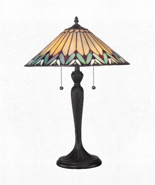 """16"""" 2 Light Table Lamp In Bronze Patina"""