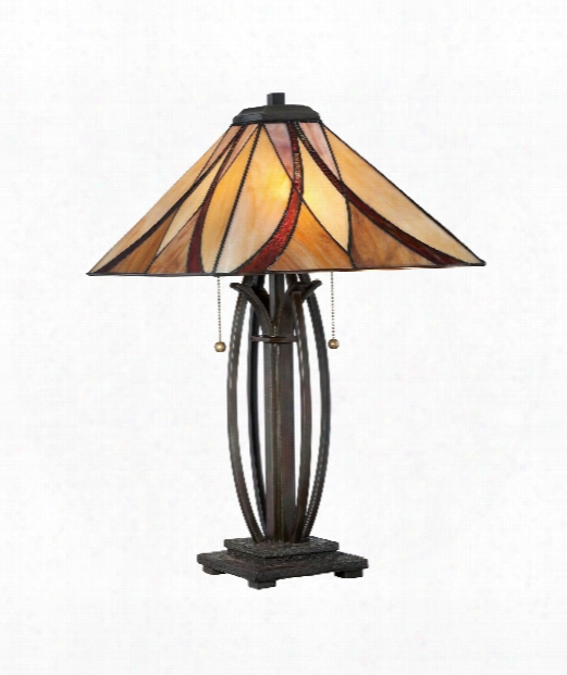 "16"" 2 Light Table Lamp In Valiant Bronze"