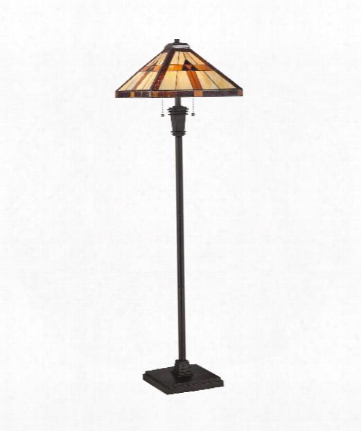 """17"""" 2 Light Floor Lamp In Bronze Patina"""