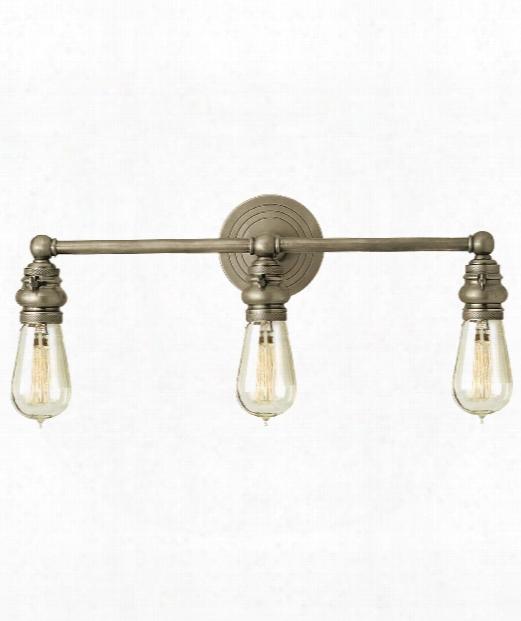 "Boston 21"" 3 Light Bath Vanity Light In Antique Nickel"