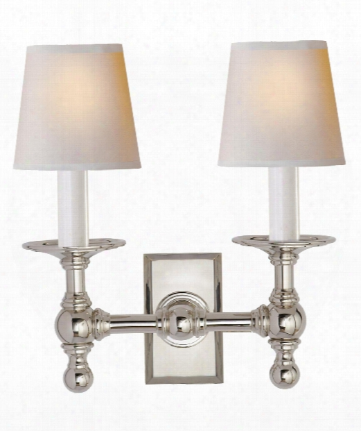 "Classic 10"" 2 Light Wall Sconce In Polished Nickel"