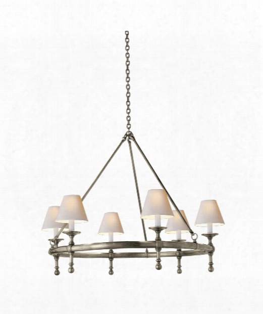 "Classic 33"" 6 Light Chandelier In Antique Nickel"